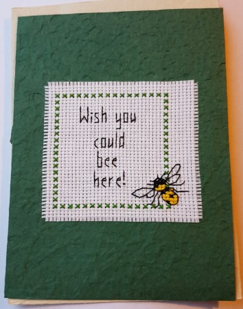 Kort, brodert, Wish you could bee here
